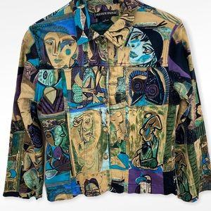 VTG Multicolor Picasso Style Art Unique Jacket